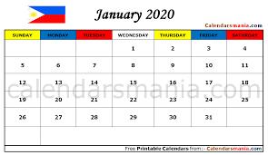 January 2020 Calendar Philippines