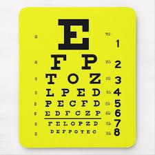 Ophthalmology Optometry Medical Eye Chart Yellow Mouse Pad