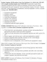 Sample Resume: Resume Templates Counter Desk Attendant Equipment.