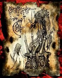 demon oracle cthulhu necronomicon page occult demon magick dark spirit vire horror