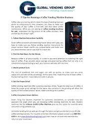 Coffee Vending Machine Business For Sale Awesome 48 Tips For Running A Coffee Vending Machine Business