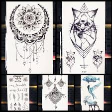 хна бог кошка геометрические подвески временные татуировки девушки дети черные