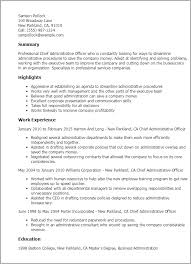 Resume Templates: Chief Administrative Officer