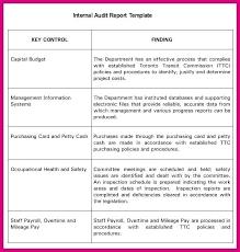 Internal Audit Findings Template