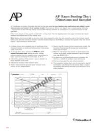 College Board Seating Chart Fillable Online Ap Exam Seating Chart Ap Coordinators Manual