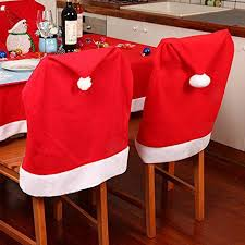 Santa Hat Chair Covers Santa Clause Red Hat Chair Back Covers