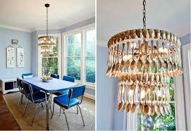 creative diy chandelier made with recycled spoons