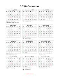 2020 Calendar Printable With Us Holidays Download Blank Calendar 2020 With Us Holidays 12 Months On