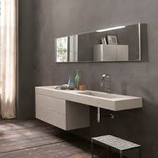 wall-hung washbasin cabinet / cement / contemporary / with mirror