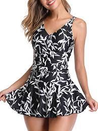 Womens Plus Size Polka Dot Shaping Body One Piece Swim Dresses Swimsuit 2xl Black Leaf