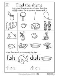 Small Picture Kindergarten Preschool Reading Writing Worksheets Rhyming words