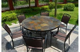 63 round slate outdoor patio dining table stone oceane pertaining to design 1