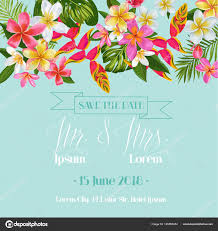 Romantic Date Invitation Template Wedding Invitation Template With Plumeria Flowers Tropical Floral