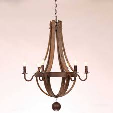 metal and wood chandelier. Vineyard 6 Light Metal And Wood Chandelier Fresh Rustic Wine Barrel Stave Reclaimed Rust