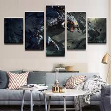 5 pieces creature dota 2 roshan canvas painting wall art home decorative modern canvas printed pictures on decorative contemporary wall art with 5 pieces creature dota 2 roshan canvas painting wall art home