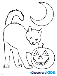 Small Picture Halloween Cat Coloring Page Discovery Kids