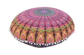 Round Decorative Pillows Mandala Elephant Throw Indian Pillows Large Floor Cushion Round
