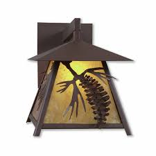 in stock smoky mtn outdoor wall light large spruce cone rustic brown finish and almond mica shade