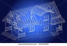 architectural design blueprint. The Blueprint Of Architectural Design Half-timbered Residential House With Terrace. Vector A