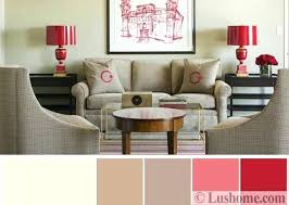 beige and gray color scheme living room furniture in gray and beige red table lamps and