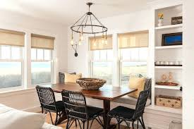 cottage style dining room chandeliers linen roller shades with beach style dining room and beach cottage