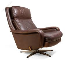 danish leather reclining swivel man cave chair c1970