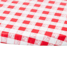 red gingham 60 round plastic tablecloth with elastic image preview main picture