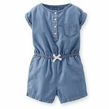 New Carters Girls Chambray Summer Romper Outfit Mini Blues Nwt 6m Ebay