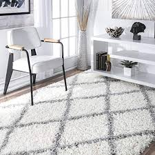 nuloom cozy soft and plush diamond trellis area rug white 6 7