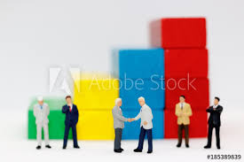 Business Investment Agreements Unique Miniature People Handshake With Step Of Wood Block Stack Agreement