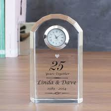 personalised silver wedding anniversary clock