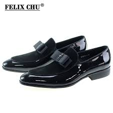 handmade genuine patent leather and nubuck leather patchwork with bow tie men wedding black dress shoes men s banquet loafers bamboosupermarket you can