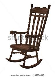 wooden rocking chair. old wooden rocking chair on white background n