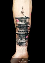 Chinese Pagoda Tattoo By Steve Toth Body Art Tatuaggi Tatuaggi