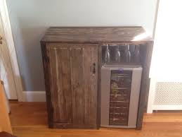 Cabinet With Wine Cooler My First Pallet Project Rustic Liquor Cabinet With Built In Wine