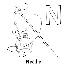 n coloring page vector alphabet letter n coloring page needle stock vector ilration of needle n coloring page letter