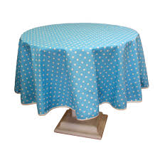 poly cotton tablecloth with blue polka dot design round 160cm 63