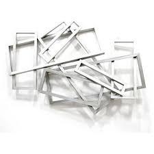 silver metal wall art rectangle metal