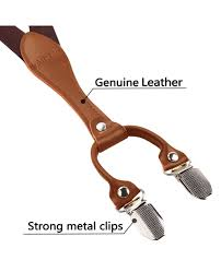 Alizeal <b>Mens</b> 2.5cm Wide <b>4 Clips</b> Leather Joint <b>Suspenders</b> BD042 ...