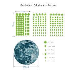 230x glow in the dark stars w big moon