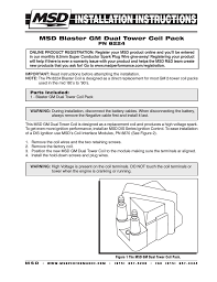 gm coil pack wiring wiring diagram libraries msd 8224 gm coil pack 2 tower style installation user manual 2 pages