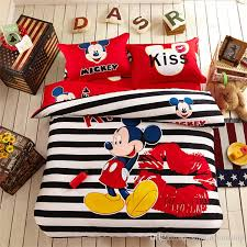 interesting baby bedding set boy kids twin sizefashion cartoon paradise minie mickey mouse bed linen cotton mitchsingle bed sheets blue duvet cover king