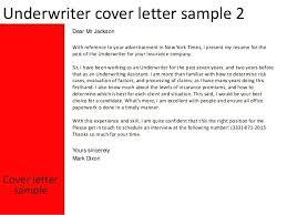 Cover Letter For Insurance Underwriter Underwriter Cover Letter