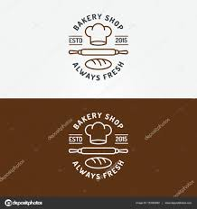 Bakery Shop Logo Set With Chefs Hat Plunger And Loaf For Bread