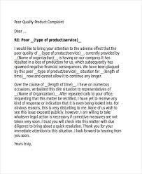 complaint letter samples product quality complaint letter