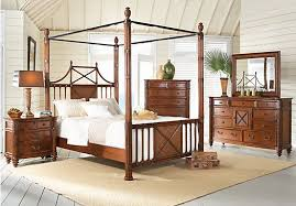 Island Breeze King Brown 7Pc Canopy Bedroom | Tropical Room ...