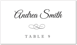 Black Meandering Flourish Folded Place Card Template Downloadble Stationery
