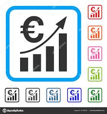 Euro Bar Chart Trend Framed Icon Stock Vector Ahasoft