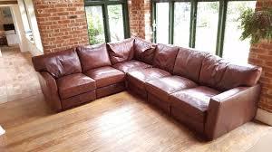 used 6 seater real leather corner sofa