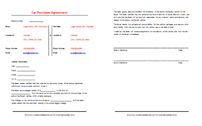 Car Purchase Agreement Sample Save Word Templates Custom Auto Purchase Agreement Template